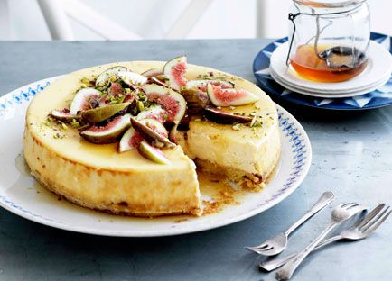 Australian Gourmet Traveller Greek dessert recipe for goat's cheese cake with figs and honey.