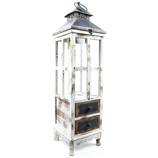 Tall Antique Cream Wood Lantern with 2-Drawers | Shop ...