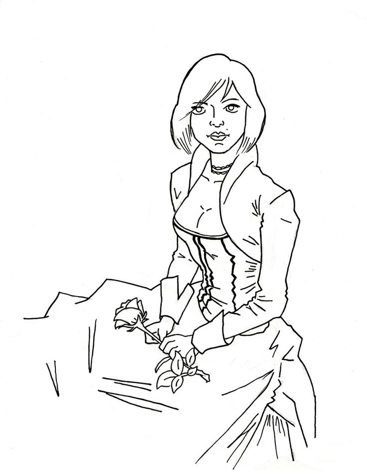 D Line Drawings Locations : Elizabeth bioshock infinite line drawing simple but