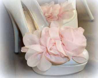 Shoe Clips - Pink Chiffon flowers- set of 2- womens shoe clips, bridal, wedding, flowergirl, accessory