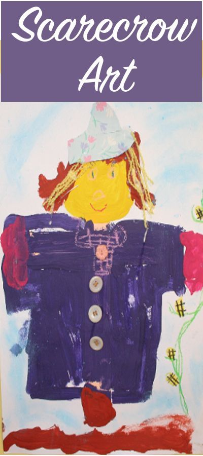 Scarecrow Art Ideas Preschool - fun painting activity and book ideas for when you discuss fruits and vegetables with your children.