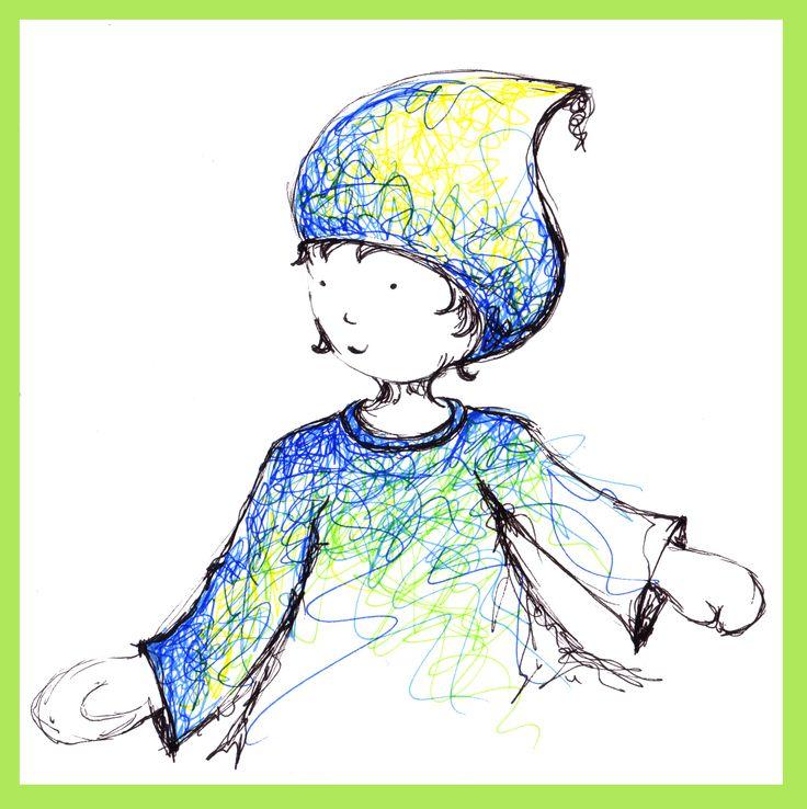 Girl in blue and Green - Erika Reid Illustrations
