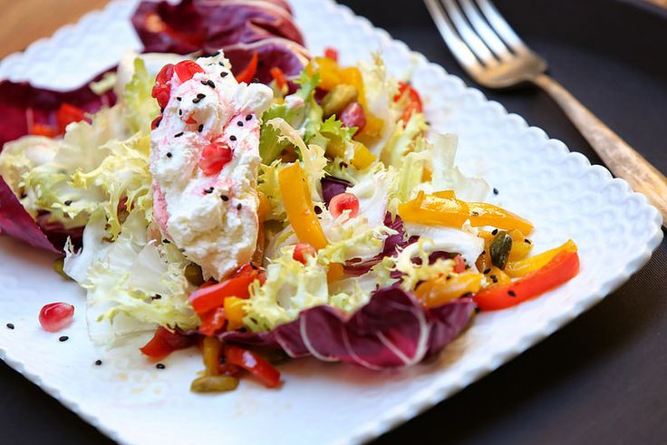 Thanksgiving White cheese with pomegranate, American Pistachios and Trevisano radicchio