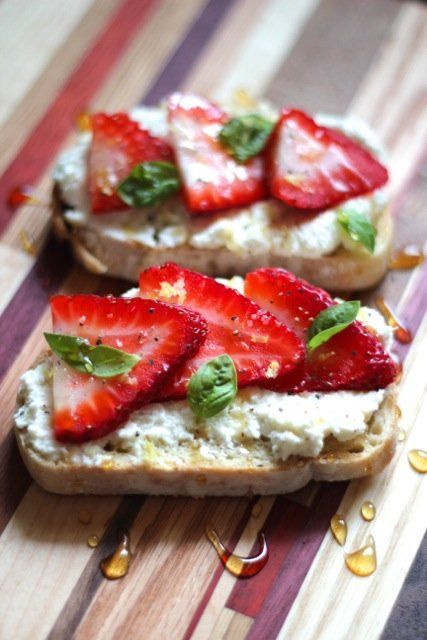 Ricotta Toasts with Strawberries, Basil & Honey @Alaska from Scratch