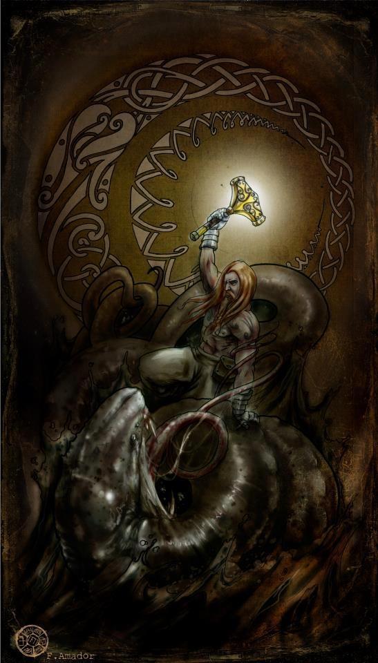 Thor vs. Jörmungandr | Goddesses and Gods | Pinterest