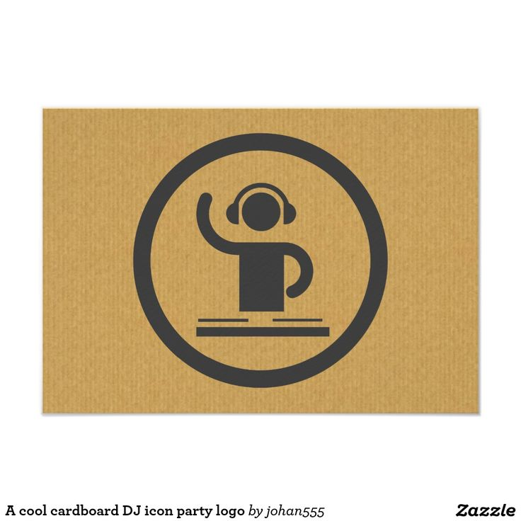business event invitation templates%0A A cool cardboard DJ icon party logo    x  Paper Invitation Card