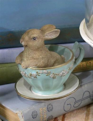 Teacup Bunny   Easter Bunny Figurine