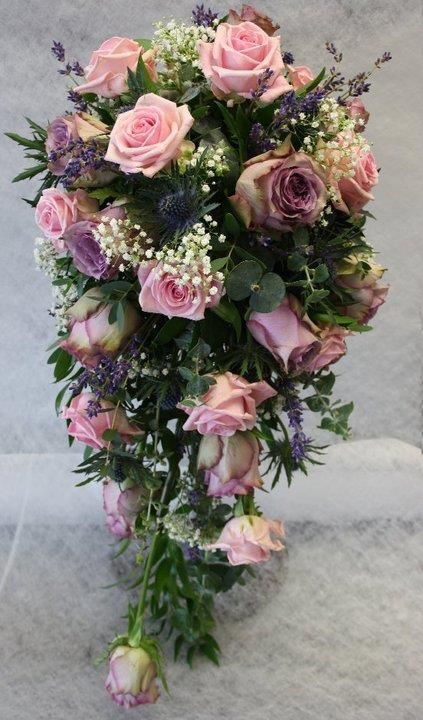 Shower Bouquet of 'Heaven' and 'Amnesia' Roses with blue Thistle, Lavender and Gypsophillia