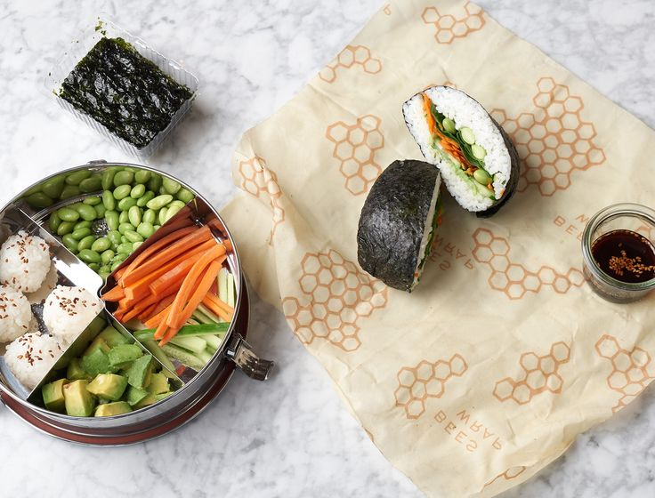 This sushi-inspired lunch is a new office favorite. The kiddos get a fun, DIY bento-style version, and parents get a tasty nori sandwich packed full of veggies.