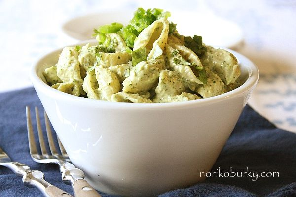 Avocado and lime chilled pasta