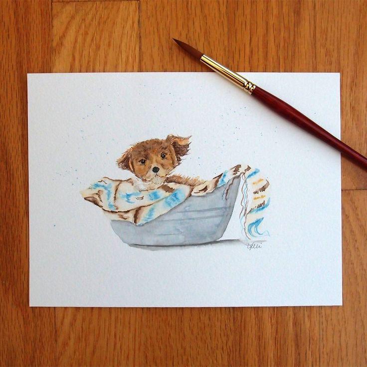 Yorkie Puppy Original Watercolor Painting – Cute Dog Animal Art Illustration – Plaid Blanket Metal Tub – Child's Room Nursery Baby Shower – My Watercolor Art