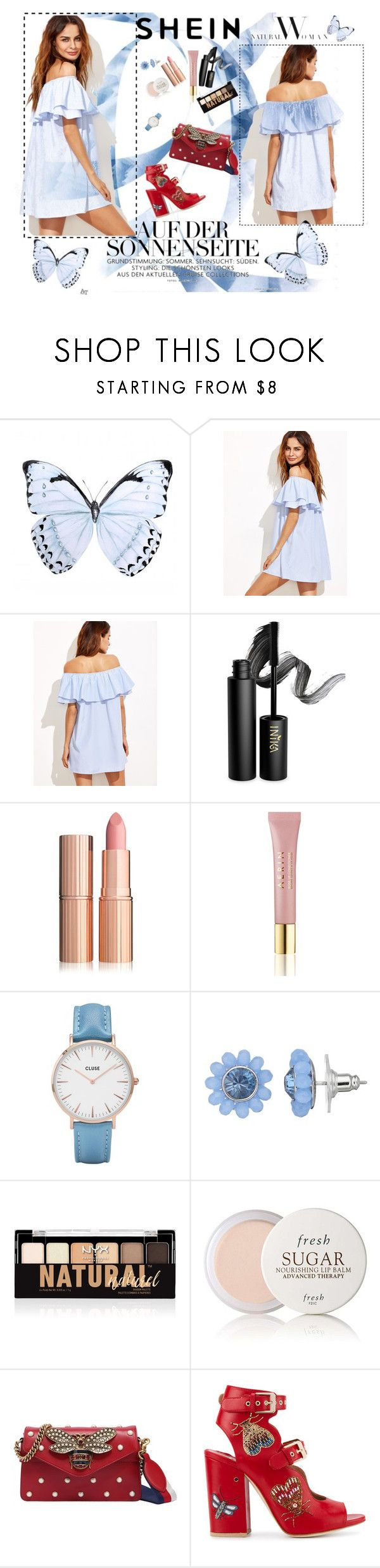 """#shein dress"" by nejraa95 ❤ liked on Polyvore featuring INIKA, AERIN, CLUSE, Simply Vera, NYX, Fresh, Gucci and Laurence Dacade"