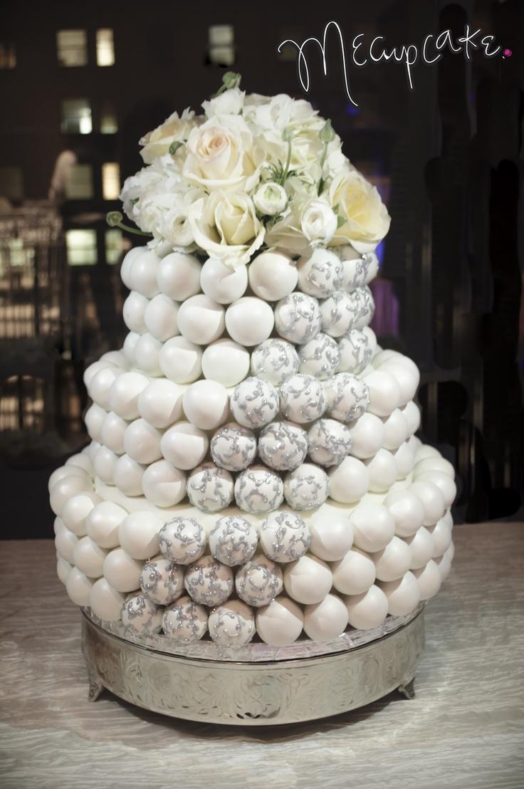 Wedding Cake Ball White With Silver Swirls