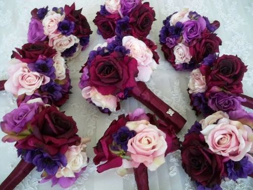 bridesmaid bouquets for sangria dresses | Sangria Wedding Bouquets