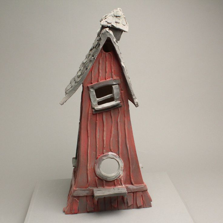 OLD CABIN BIRDHOUSE by obrienclayworks on Etsy https://www.etsy.com/listing/203613166/old-cabin-birdhouse