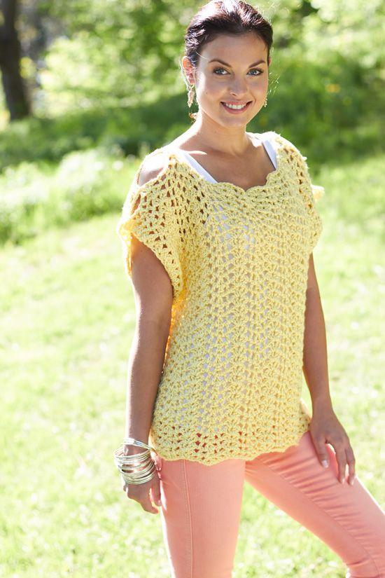Pretty scalloped summer top, free pattern from Caron Yarn #crochet