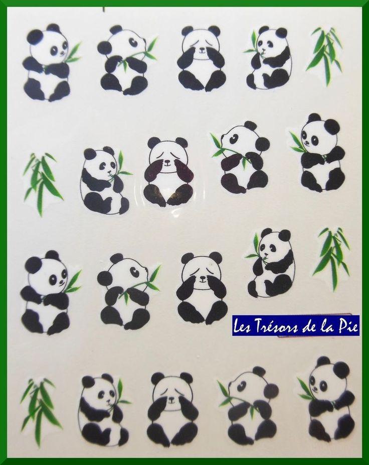 STICKERS ONGLES WATER DECAL (x20) - Nail art - Pandas & bambous - Noir & vert