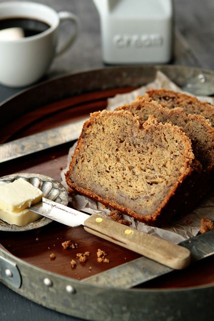 The Best Banana Bread adapted from allrecipes.  Note:  Add 2 T. dark rum plus 1 c. coconut for MBA's Rum-Coconut Banana Bread!