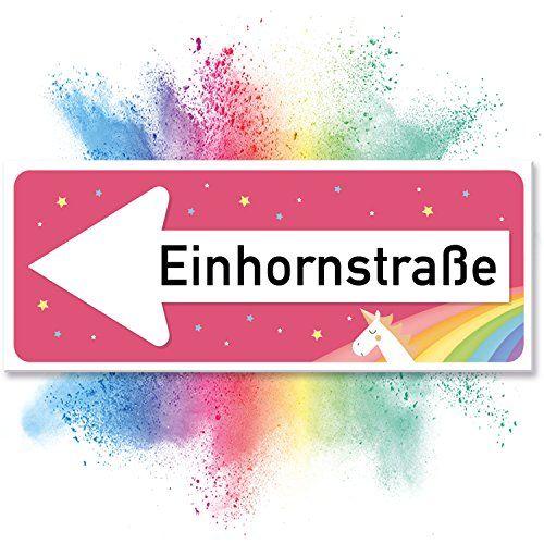 Einhhorn Schild - Einhornstraße (40 x 15cm) | Süße Deko, Wanddeko | Türschild für Mädels, Mädchen-Zimmer | Geschenkidee und Geburtstagsgeschenk | Kleines, Lustiges Geschenk für Sie - beste Freundin