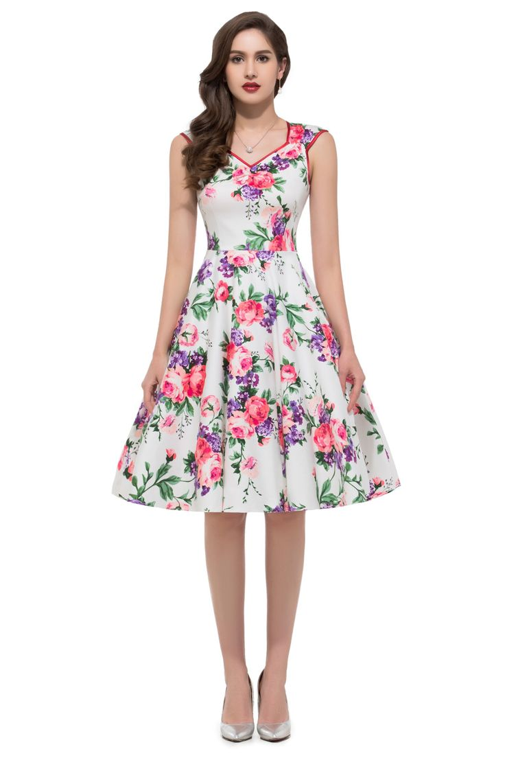 TF Queen Women Sleeveless Cotton Floral Printed Vintage Dresses 5 Patterns:  Amazon.co.
