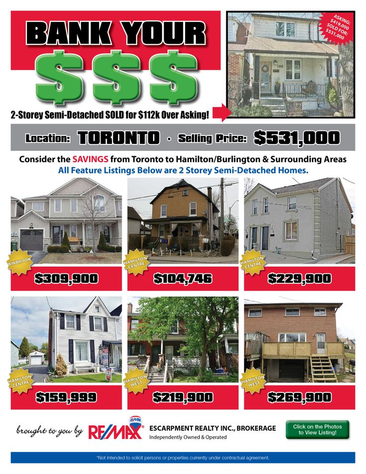 Do you enjoy saving money? Perhaps leaving the GTA and moving to the Hamilton/Burlington or a surrounding area is just the opportunity for you and your family!   Check out some of our current listings to see the comparison and the money you could SAVE!!!