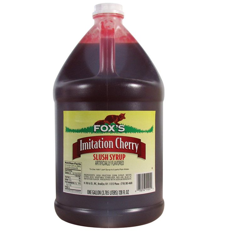 Fox's Cherry Slush Syrup - (4) 1 Gallon Containers / Case