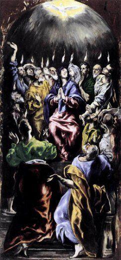 """""""The Penticost"""" El Greco [성령강림] 엘 그레코, 1596-1600, 캔버스에 유채 성령강림이 일어나는 공간 묘사보다 성령에 가득 찬 제자들의 모습에 집중하고 있다. """"나는 세상에 불을 지르러 왔다. 그 불이 이미 타올랐으면 얼마나 좋으랴?"""" (루카 12,49)"""
