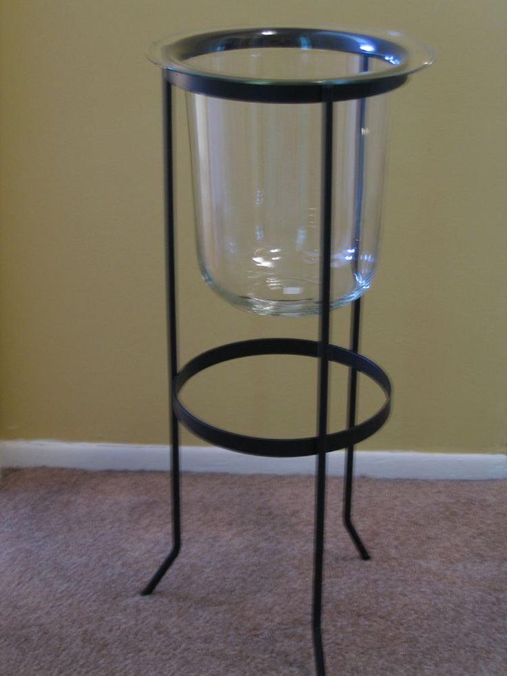 Partylite seville 3-wick wrought iron stand w/glass ...