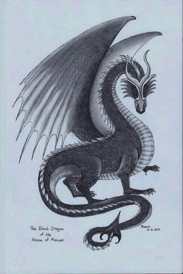 A pencil drawing. A black dragon. https://www.facebook.com/OfMiArt/photos_albums