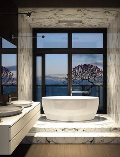 Dark Magic: Sophisticated Kiev Apartment With Striking Interiors And  Panoramic Views. Modern Marble BathroomModern ...