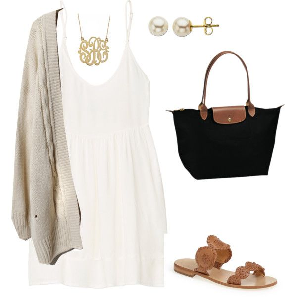 A fashion look from August 2014 featuring Jack Rogers sandals, Longchamp tote bags and Lord & Taylor earrings. Browse and shop related looks.