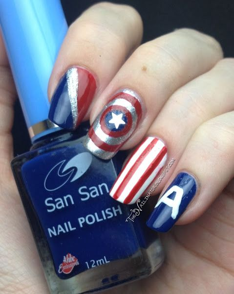 The Nailinator: Captain America nail design. Works great with the captain america Halloween costume!