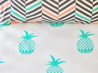 Bright Mint Pina Colada 100% cotton fitted cot sheet