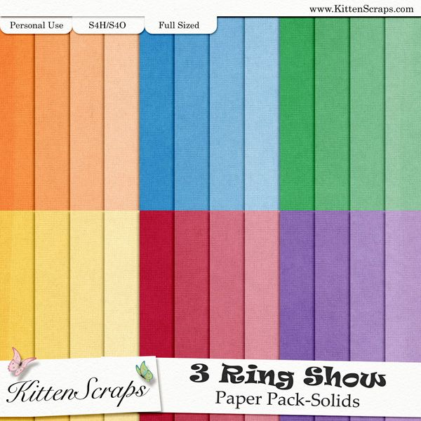 3 Ring Show Paper Pack-Solids KittenScraps, Digital Scrapbooking