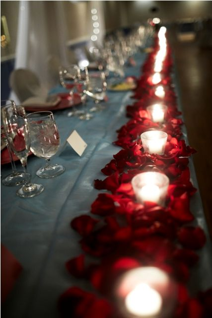 Candle & rose petal table runner