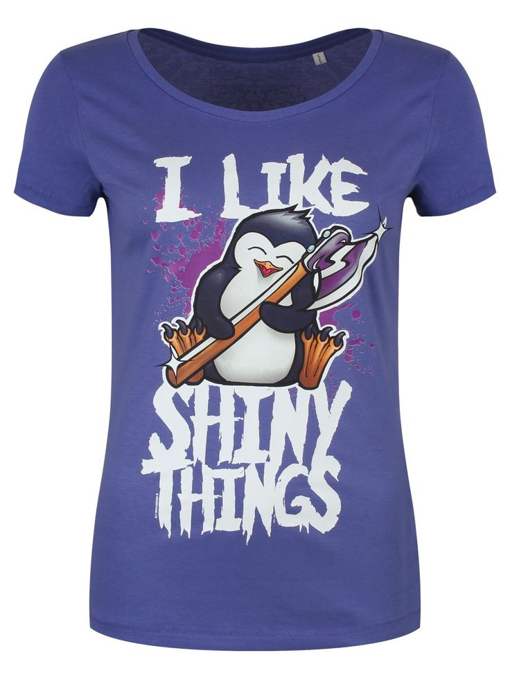PSYCHO PENGUIN I LIKE SHINY THINGS LADIES PURPLE SCOOP NECK T-SHIRT