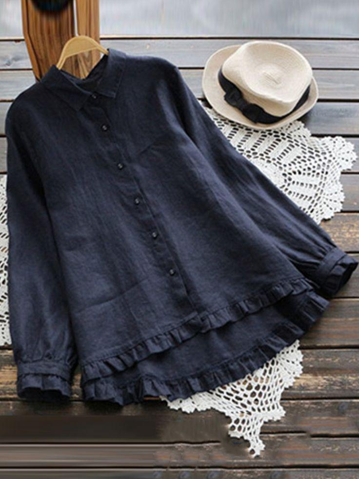 Plus Size Elegant Long Sleeve Ruffles Hem Cotton Blouse for Women