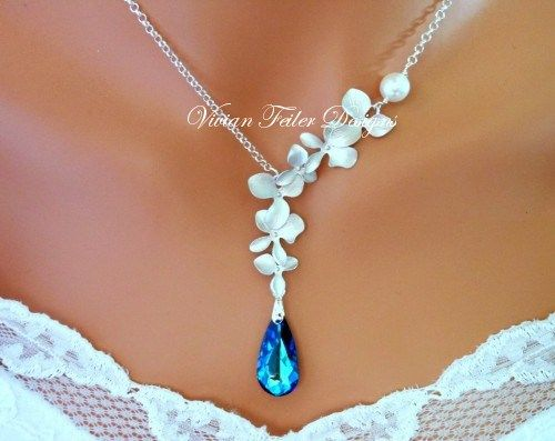 """Bermuda Blue Peacock Orchids Necklace, Wedding Necklace  This is beautiful..... """"Something blue!"""""""
