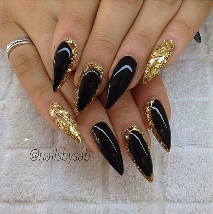 black and gold nail, gel nail, nails, nail art, stileto nail - The 25+ Best Black Gold Nails Ideas On Pinterest Nail Ideas