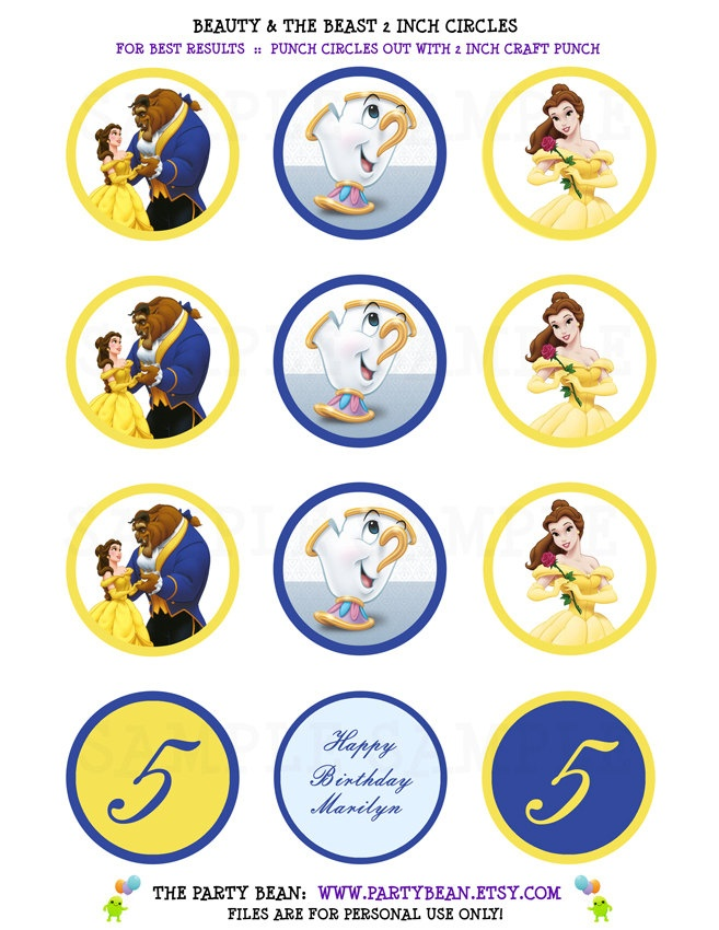 Beauty & The Beast Belle Birthday Cupcake Toppers - Stickers - Tags: Digital pdf File YOU PRINT - 2 inch circles. $4.50, via Etsy.