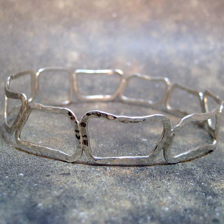 Sterling Silver Abstract Shapes Bangle Bracelet - Plus Size - Handmade Silver Artisan Jewelry - Designed by A Second Time. $160.00, via Etsy.