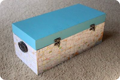 DIY Wooden map treasure box for souvenirs from your travels.