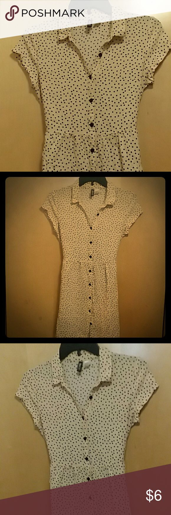 H&M polka dot button down top Button down top. Could be worn as a short dress. Has a tie in the back. No holes or snags :) Divided Tops