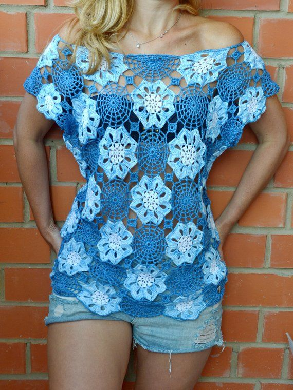 Crochet Lace Top mini Dress Beach Boho Tunic Summer Cotton Top Beachwear women Handmade Sexy beach dress exclusive design order for Gift