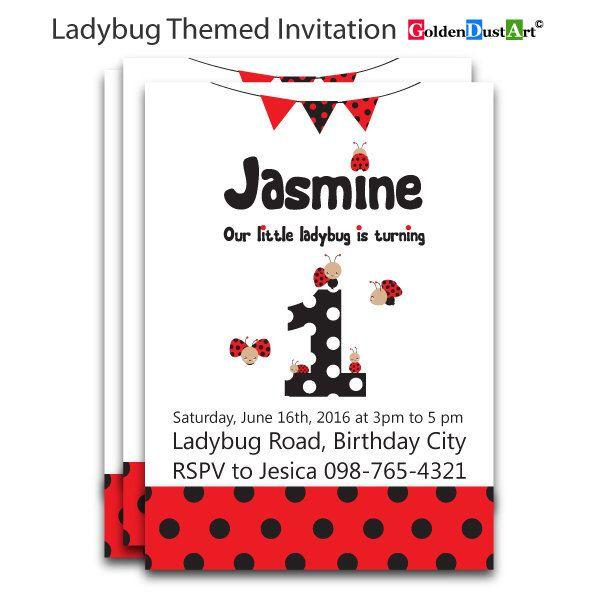 1st Ladybug Invitation, Ladybug Invitation, Ladybug Invite, 1st Birthday Invite, Baby Girls Invitation, Cute Ladybug Invitation by GoldenDustArt on Etsy https://www.etsy.com/listing/285499465/1st-ladybug-invitation-ladybug