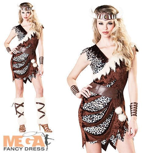 Barbarian Viking Ladies Fancy Dress Cavewoman Womens Adult Cave Woman Costume