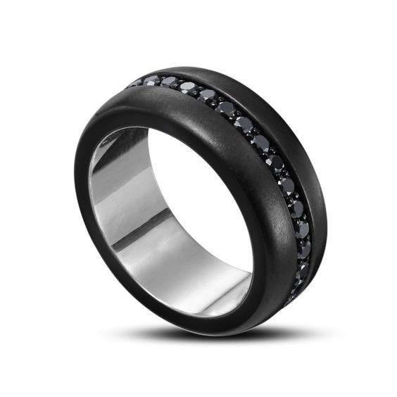 MENS AAA ROUND CUT DIAMOND WEDDING BAND BLACK GOLD FINISH RING SIZE 7-14 #MensWeddingBandRing #WeddingEngagementAnniversaryDailyWear
