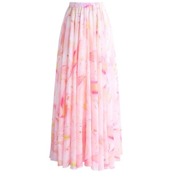 Chicwish Luscious Lily Watercolor Chiffon Maxi Skirt in Pink (€36) ❤ liked on Polyvore featuring skirts, bottoms, pink, ankle length skirts, long floral skirts, long chiffon skirt, long pink skirt and pink chiffon maxi skirt