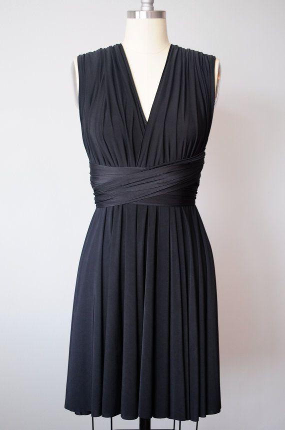 Black Infinity Dress Convertible Formal Multiway Wrap Dress Bridesmaid Dress Toga Dress Summer Dress Short