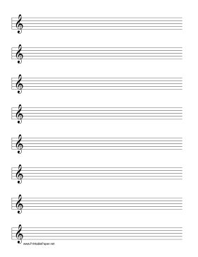 This manuscript paper includes eight rows of five line for Music manuscript template